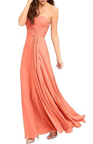 Absolute Rosy Women's Sleeveless Strapless Sweetheart Bodice Chiffon Maxi Evening Dress Peach S