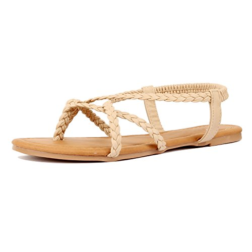 Guilty Shoes Womens Crisscross Summer Gladiator Braided Comfort Yoga Strappy Flats-Sandals