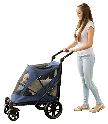 (Pet Gear NO-Zip Stroller, Push Button Zipperless Dual Entry, for Single or Multiple Dogs/Cats, Pet Can Easily Walk in/Out, No Need to Lift Pet)