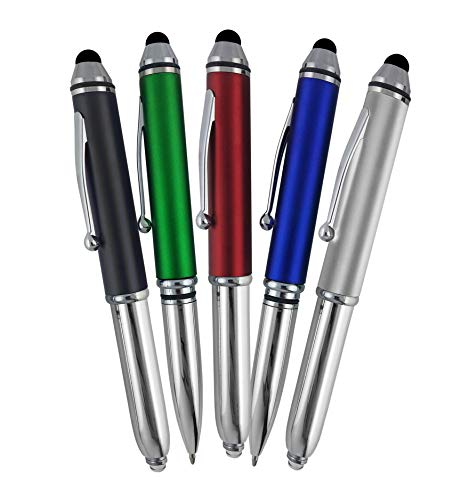 SyPen Stylus Pen for Touchscreen Devices, Tablets, iPads, iPhones, Multi-Function Capacitive Pen with LED Flashlight, Ballpoint Ink Pen, 3-in-1 Pen, Multi, 5PK