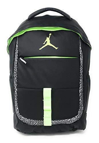 NIKE Jordan Logo Jumpman School Laptop Backpack Black/Reflective Graphic/Volt Yellow