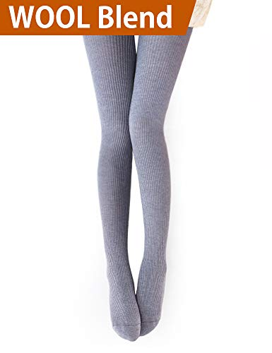 - Vero Monte 1 Pair Womens Wool Blend Ribbed Tights Opaque Knit Tights(Light Grey)