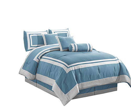 Chezmoi Collection Caprice 7-Piece Square Block Framed Hotel Style Bedding Comforter Set (Queen, Blue/White)