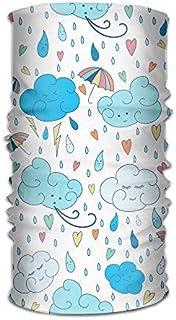DEGTTF Cartoon Rain Cloud Unisex Fashion Quick-Drying Microfiber Headdress Outdoor Magic Scarf Neck Neck Scarf Hooded Scarf Super Soft Handle