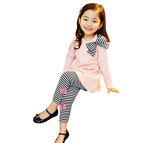 Lisli New Kids Girls Bow Striped Leggings Suit Long Sleeve Shirts Tops Sets Two-piece Suit (4-5Y(120))