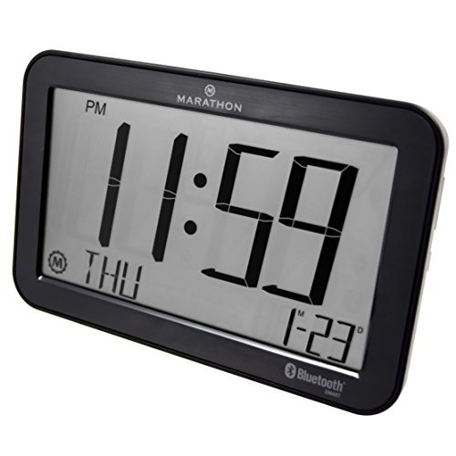 - Marathon CL800001GH Bluetooth Clock. Self Setting and Self Adjusting. Comes with Free App. Color-Black Stainless Finish.