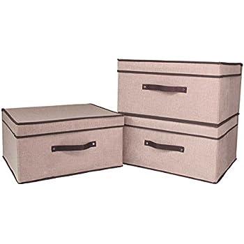 freitec foldable canvas storage box collapsible storage cube basket bins with lids. Black Bedroom Furniture Sets. Home Design Ideas