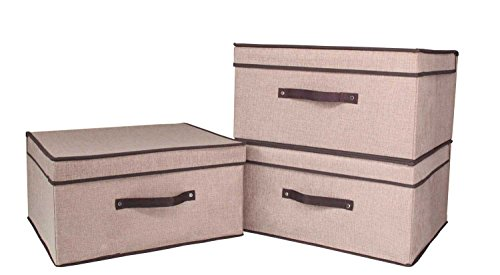 Freitec Foldable Canvas Storage Box, Collapsible Storage Cube Basket Bins with Lids, 3 Packs, Large Size, Beige Color (Box Storage Set)