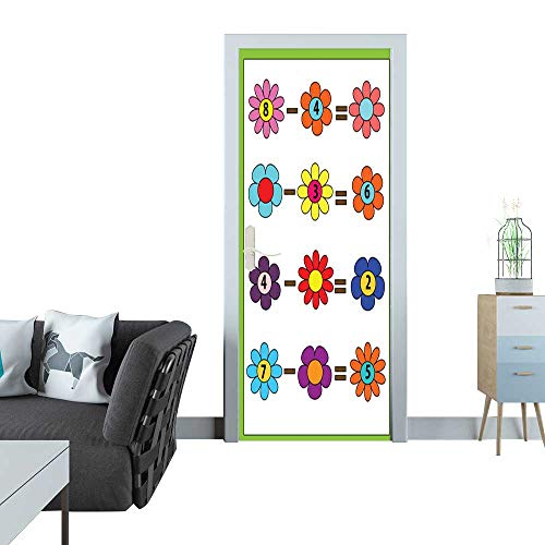 Sticker Decals Math Educational Game for Children Counting Equations Subtraction worksheet 3D Door Sticker 35x83(90x210 cm) ()