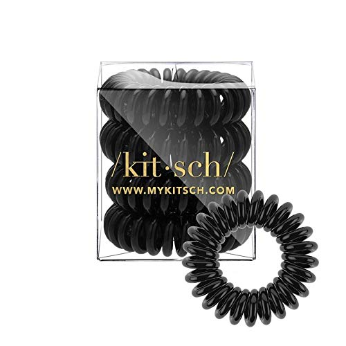 Kitsch Spiral Hair Ties, Coil Hair Ties, Phone Cord Hair Ties, Hair Coils - 4pcs, Solid Black