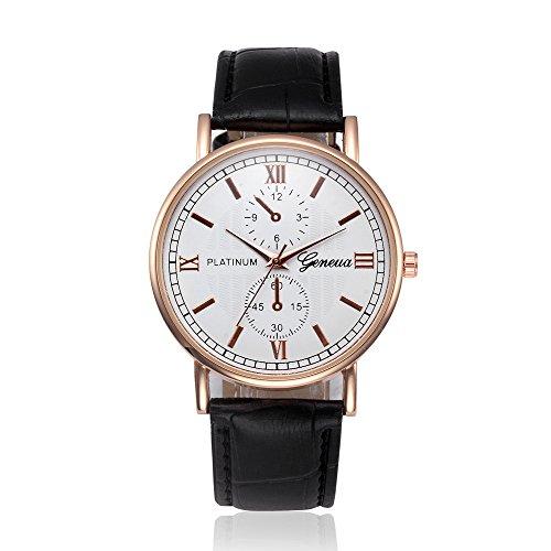 Men's Quartz Analog Watches?Hosamtel XD5458 Retro Design Wrist Watch,Bracelet Watches With Leather Band (Black)