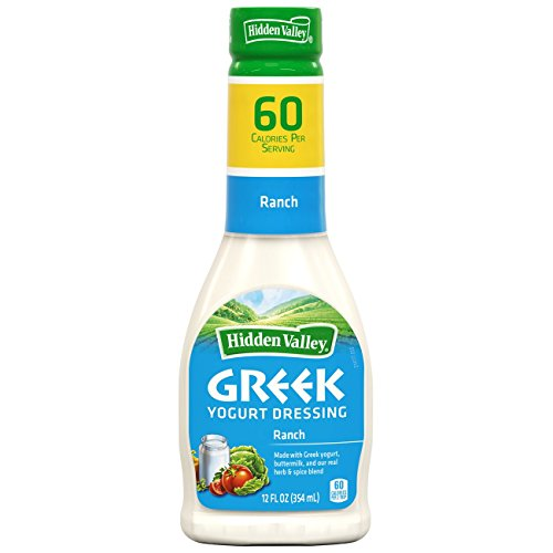 Hidden Valley Greek Yogurt Original Ranch Salad Dressing & Topping, Gluten Free - 12 Ounce Bottle (Best Bottled Greek Dressing)