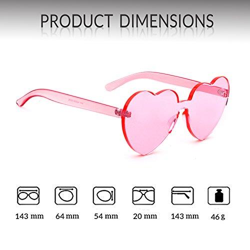 sin corazón de Gafas montura 1 de sol forma con mujer en forma de niña corazón de Gafas Pink para sol ADEWU XqwYPtt