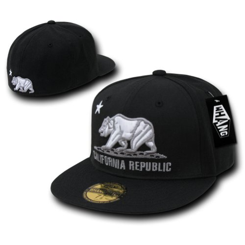 WHANG Original Cali Bear Logo Retro Fitted Baseball Caps - Black, 7-1/2 (Fashion Logo Bear Cap)
