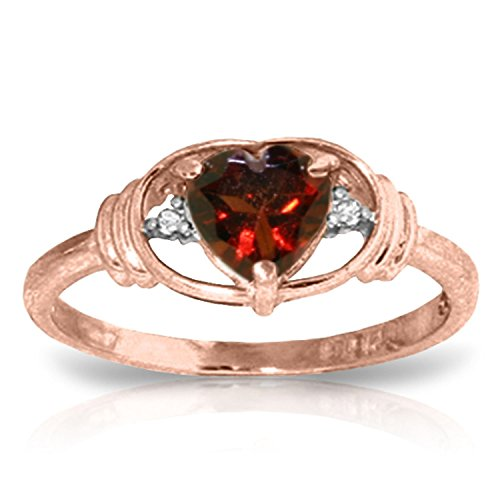 0.96 CTW 14k Solid Rose Gold Ring with Natural Diamonds and Heart-shaped Garnet - Size (Yellow Gold Diamond Heart Tag)