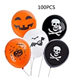 "LASLU 100pcs Thicken 12"" Latex Balloons for Party Birthday Celebration Bar Halloween Decoration Balloon - Pumpkins, Skulls, Spider Webs"