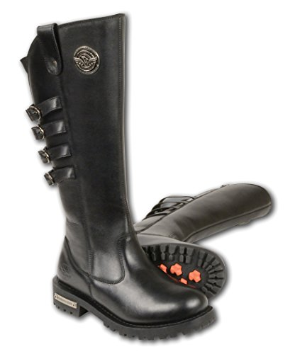 Milwaukee Leather Women's Tall Boots with Buckle Detail (Black, Size 6)
