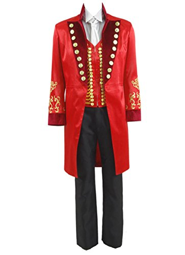 Greatest PT Barnum Cosplay Costume Performance Uniform Showman Party Suit (Small, Red)]()