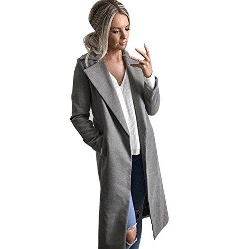 Auwer Womens Long Coat Warm Wool Lapel Trench Parka Jacket Cardigan Long Slim Overcoat Outwear (S, Gray)