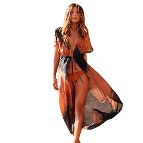 Ularmo® Femmes été Robe Sans Manches Lettre Impression Longue Robes en vrac Sexy Vestidos (M, Orange)