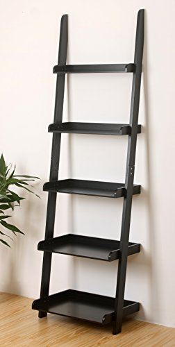 eHemco 5 Tier Leaning Wall Book Shelf in Black Finish 21-5/8