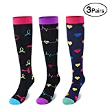 SWOLF Nurse Compression Socks - 3 Pairs - Best 15-20 mmHg Colorful Pattern Nylon Women Knee High Compression Stockings for Running Sports Flight Travel Pregnancy Medical