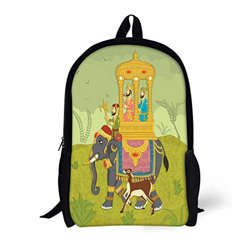 Pinbeam Backpack Travel Daypack Colorful Mughal King on Elephant Ride in Indian Waterproof School ()