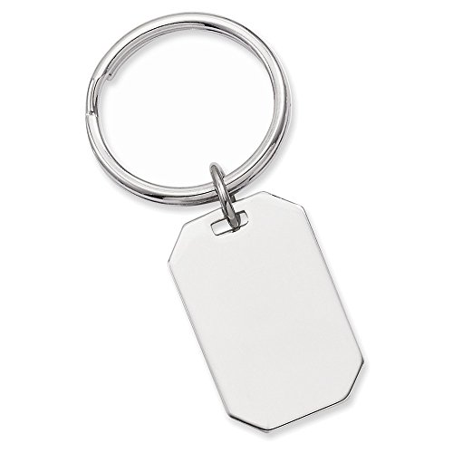(Jewelry Adviser Gifts Rhodium-plated Kelly Waters Polished Rectangle Key Ring)