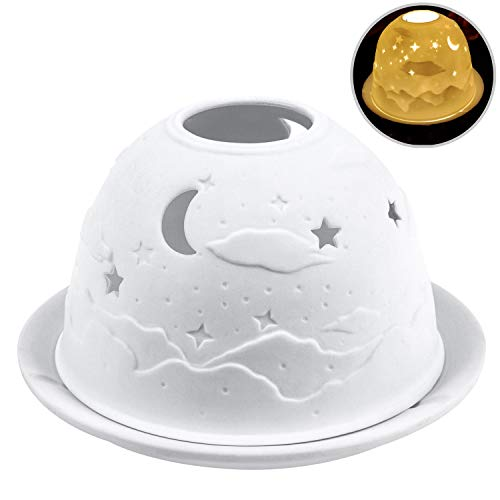 Candlestick, Candle Holder, Kimfly Ceramic Art Night Light,Candles Tea Lights Electric Christmas Candles for Halloween, Christmas, Birthday, Home, Dinner, Wedding, Party, Decor(Starry Sky(Gift-Set))
