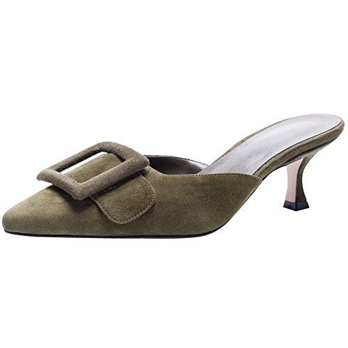 Comfity Mule Slippers for Women,Pointed Toe Slides Buckle Kitten Heels Backless Dress Sandals (Mule Kitten)