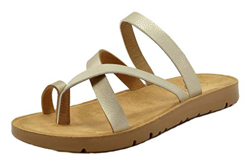 DREAM PAIRS Women's GREEK-03 Gold Platform Wedge Flat Sandals - 6 M US]()