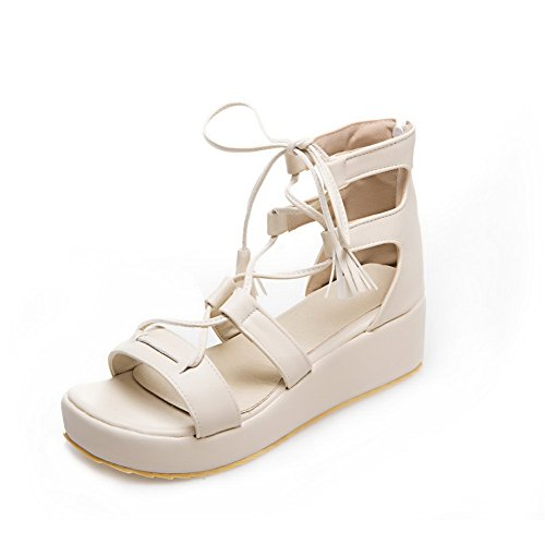 Sandals MJS02512 1TO9 Sandals Urethane Womens White Bandage Fringed wnZ67Cq