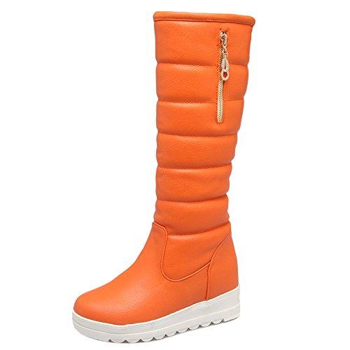Fashion On Pull Women Orange Winter High COOLCEPT Boots Mid ZwtqSP5n