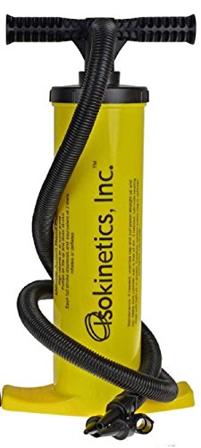 Isokinetics Inc. Brand Exercise Ball Air Pump - Yellow - Heavy Duty - Pumps on Up and Down Strokes - Multiple Nozzles to Work on All Inflatables - High Pressure Piston Pumps