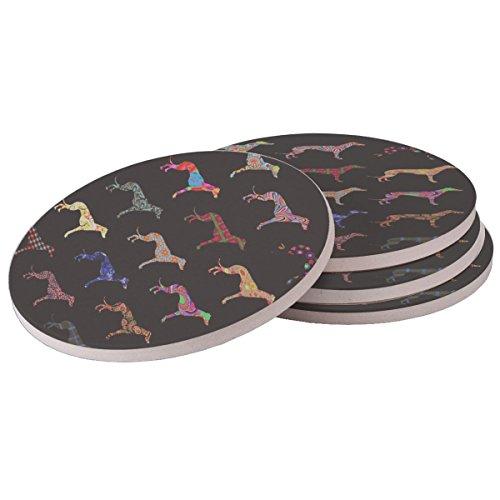 Greyhound Dog Pattern - Sandstone Drink Coaster (set of 4 coasters) ()