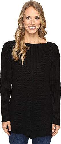 Vince Camuto Women's Long Sleeve Ribbed V Textured Sweater Rich Black Sweater