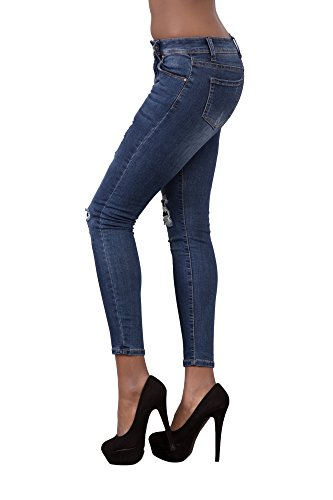 LustyChic - Vaqueros - para mujer Navy Blue Faded Ripped Jeans