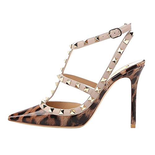 Leopard Patent High Heel - VOCOSI Women's Slingbacks Strappy Sandals for Dress,Pointy Toe Studs High Heels Sandals Shoes P-Leopard 11.5 US