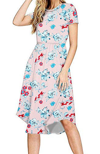 (PALINDA Women's Summer Short Sleeve Pleated Polka Dot Swing Midi Dress with Pockets (XL, Floral Pink))