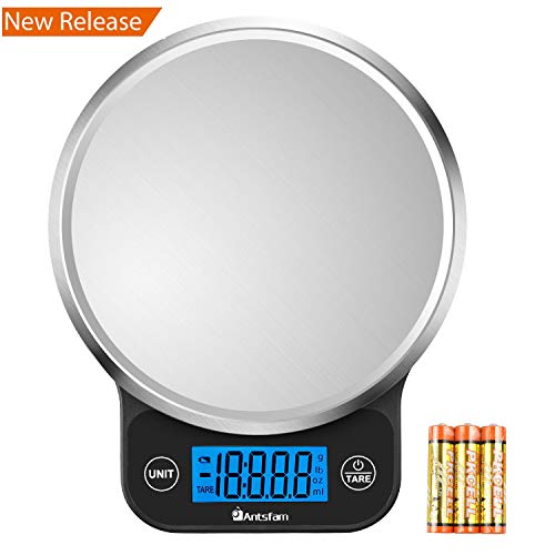 Digital Kitchen Food Scale Electronic Weight Scale for Dieting with Upgraded Blue Backlit Display-Batteries Included ()