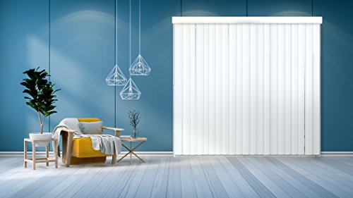 """Chicology Cordless Vertical Blinds / 78""""W X 84""""H, Curtain Drape Window Shade, PVC, Variable Light Control - Cascading White"""