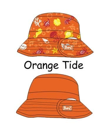- Baby Banz-KHROT UV Reversible Bucket Hat-Orange Tide-Ages 2-5