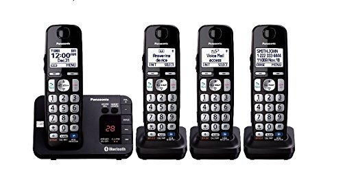 Panasonic KX-TG454SK Link2Cell Bluetooth Enabled Phone with Answering Machine, 4 Cordless - Enabled Handsets Bluetooth