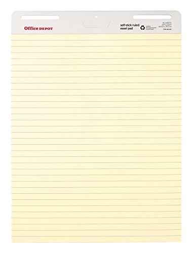 Office Depot Brand Bleed Resistant Self-Stick Easel Pads, 25'' x 30'', 40 Sheets, 30% Recycled, Yellow, Pack Of 2