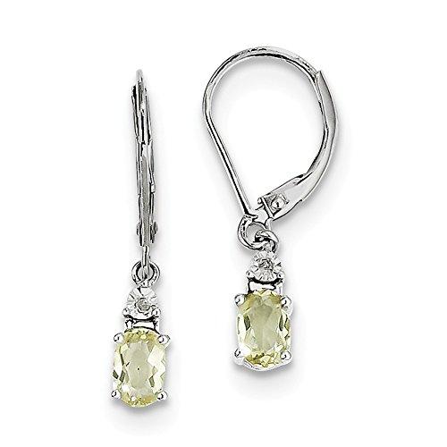Sterling Silver Rhodium Plated 0.9IN Long Diamond & Lemon Quartz Earrings - Lemon Quartz Drop