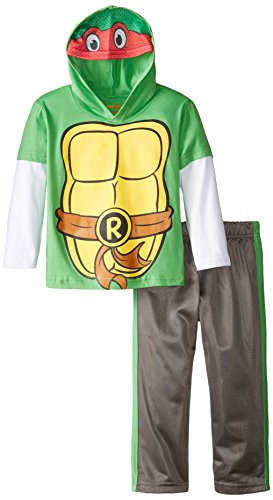 Teenage Mutant Ninja Turtles Little Boys' Toddler 2 Piece Hoodie and Pant Set, Green/Gray, 2T