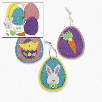 12 ~ Felt Egg Ornament Craft Kits ~ Approx. 3.5