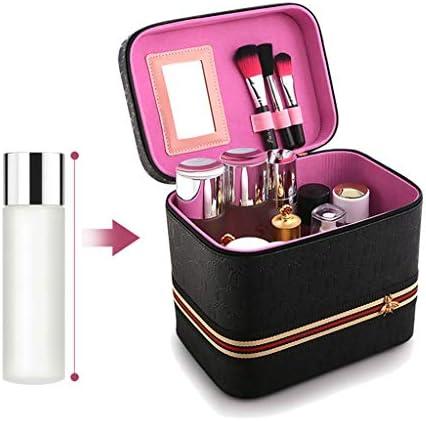化粧品収納ボックス 化粧品収納ボックス持ち運び用の化粧品ケースポータブルベルトレザー防水性とウェアラブルブラックピンクレッド SYFO (Color : Black)