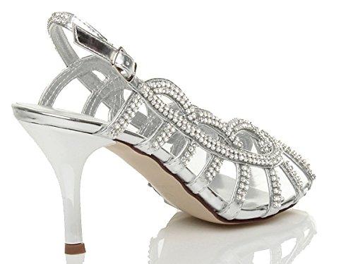 Ajvani Womens ladies mid high heel slingback diamante wedding bridal prom sandals shoes size Silver nmEeZfsG05