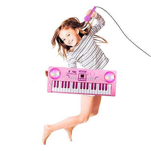 M SANMERSEN Piano Keyboard for Girls, Keyboar Piano 37 Keys Multifunction Portable Piano Electronic Keyboard Music Instrument for Kids 2-6 Year Old Girl Toys Girls Gifts Age 2-6 for Girls(Pink)
